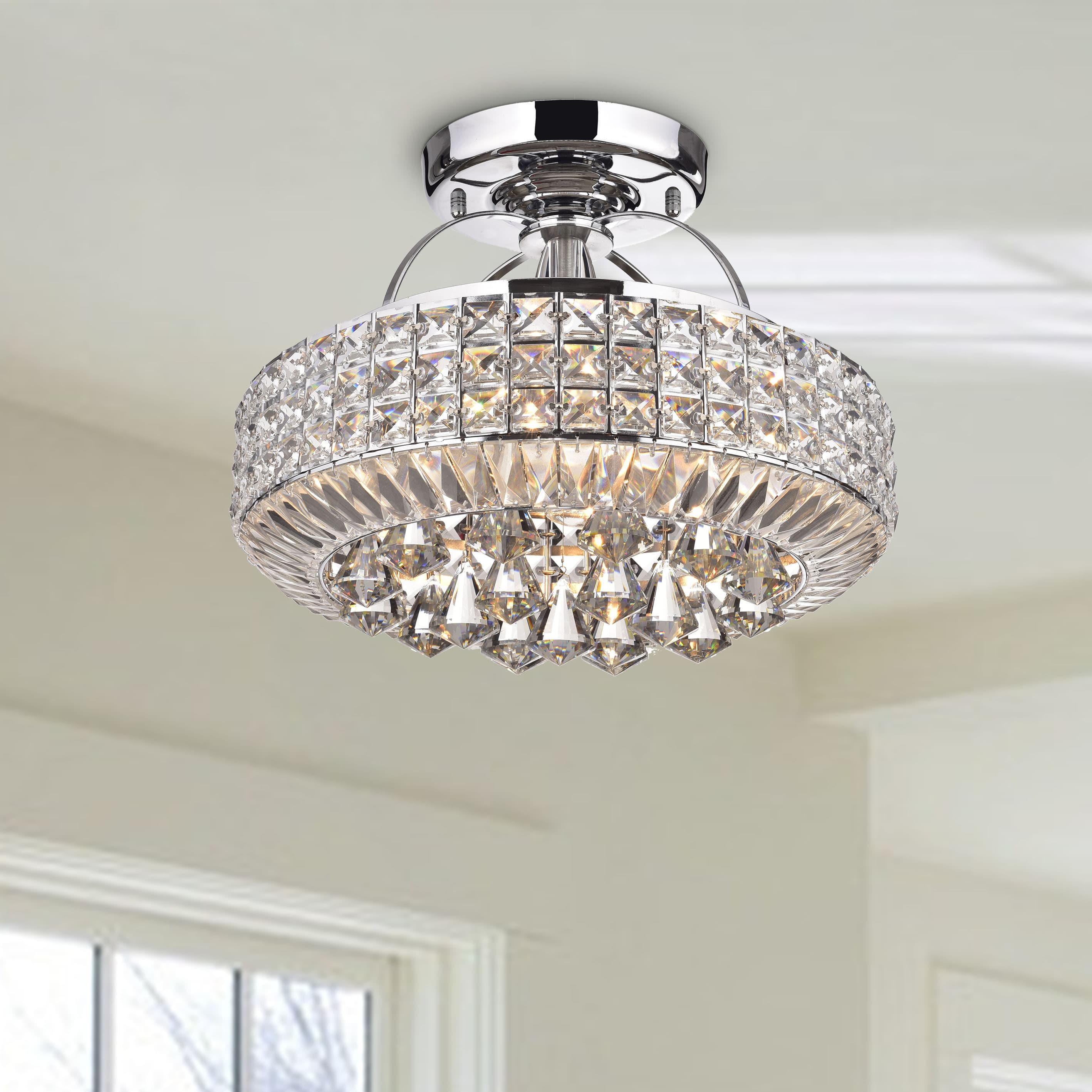 The Lighting Store Jolie Chrome Drum Shade Crystal Semi Flush Mount Chandelier