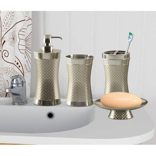 Everly Quinn Haylon Brushed 4 Piece Bathroom Accessory Set