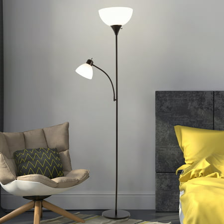 Torchiere Floor Lamp With Reading Light Sturdy Metal Base