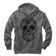 Men's Henna Print Skull Zip Up Hoodie