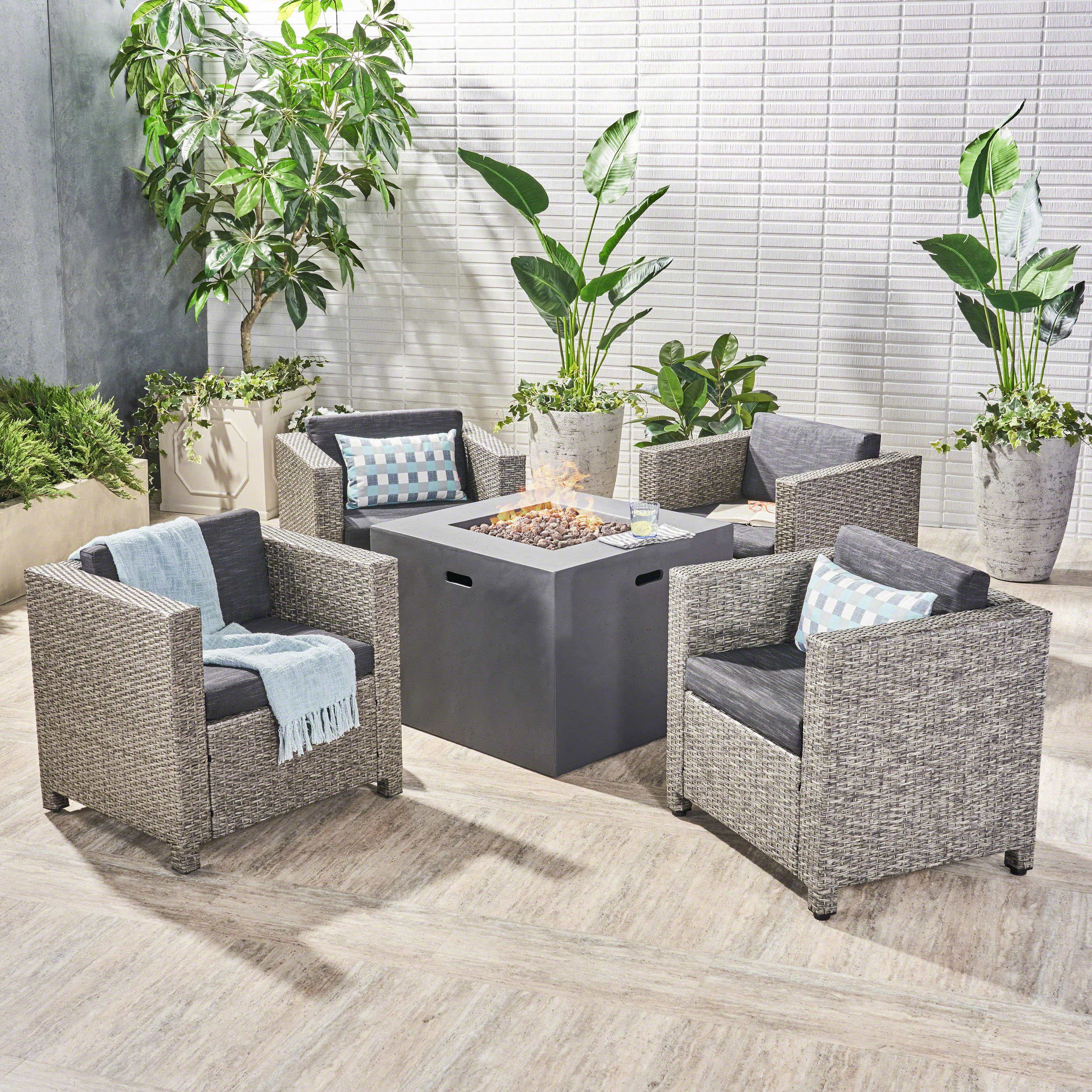 Franklin Outdoor 5 Piece Wicker Club Chair Set with cushions and Square Fire Pit, Dark Brown, Beige, Light Gray
