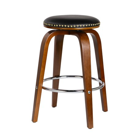 Porthos Home Dex Wood Counter Stools With PU Leather Upholstery, Beech Wood  Legs, Nailhead Trim And Metal Footrest (Set of 2 Per Order) - Walmart com