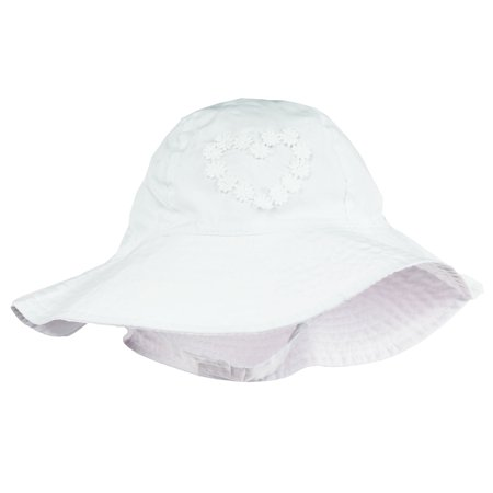 Little Me Sun Hat With Heart and Chin Strap For Toddler Girls Solid White 2T-4T
