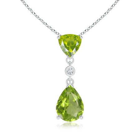Mother's Day Jewelry - Trillion and Pear Peridot Drop Pendant with Diamond in 14K White Gold (8x6mm Peridot) - (Pear Peridot Drop)