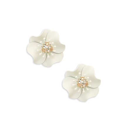 Design Lab - Goldtone and Glass Stone Flower Button Earrings