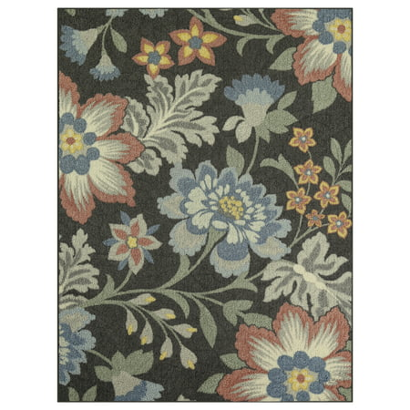 Mainstays Gray Floral Nylon Loop Pile Print Area Rug or Runner - Momeni Floral Area Rugs
