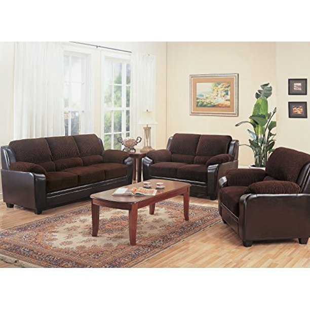 Coaster Monika 3 Piece Living Room Set Chocolate Color Chocolate And Brown Style Traditional Walmart Com Walmart Com