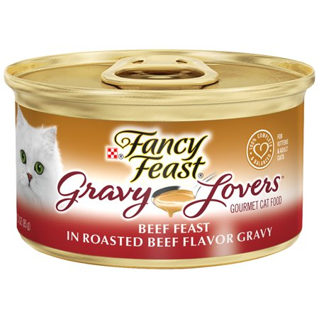 Fancy Feast Gravy Wet Cat Food, Gravy Lovers Beef Feast in Roasted Beef Flavor Gravy - (24) 3 oz. Cans (Fancy Feast Cat Food In Gravy)