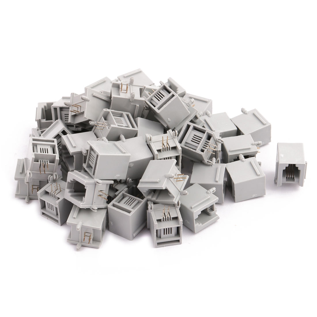 50Pcs Network Connector RJ11 4P4C Office Female PCB Mounting Modular Ethernet