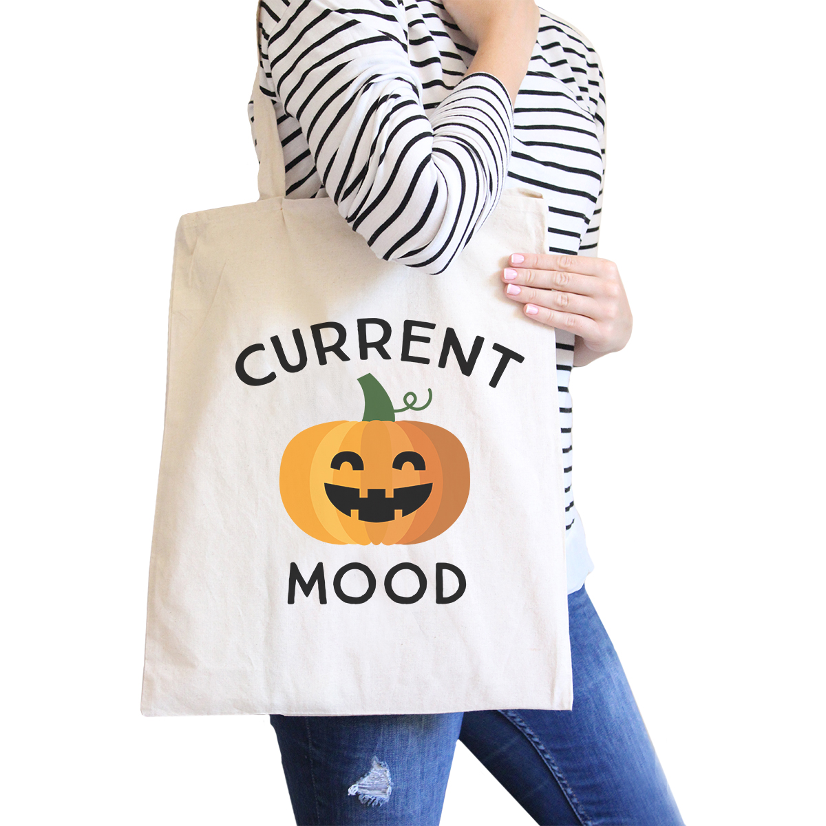 Pumpkin Current Mood Halloween Diaper Bag Cute Canvas Tote Natural