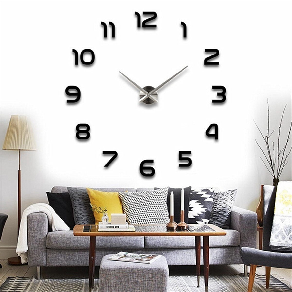 DIY Large Wall Sticker Clock 3D Mirror Modern Home Office diy home design Decor Art Decal US