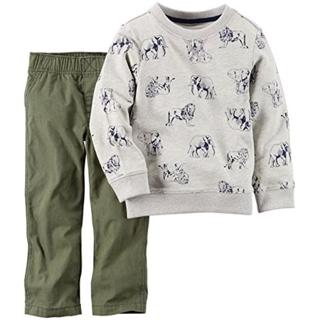 Baby Boys' 2 Piece Crew Set - Olive Print - 3 Months (Olive Baby)
