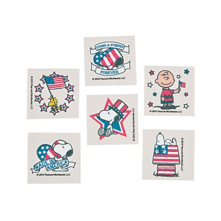 Fun Express - Peanuts Patriotic Tattoos for Fourth of July - Apparel Accessories - Temporary Tattoos - Regular Tattoos - Fourth of July - 72 Pieces](Patriotic Tattoo)
