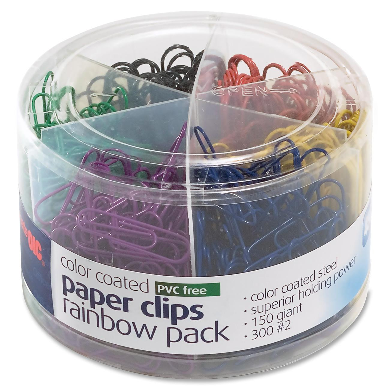 OIC Coated Paper Clips Tub