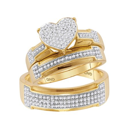 10kt Yellow Gold His & Hers Round Diamond Heart Cluster Matching Bridal Wedding Ring Band Set 1/2 Cttw