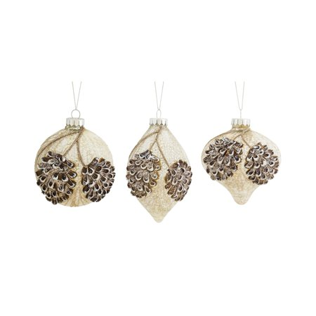 Melrose 6 in. Pine Cone Ball and Drop Ornament - Set of 6
