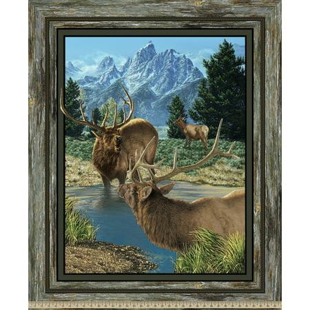Wild Wings Glenson Range Elk Panel Fabric