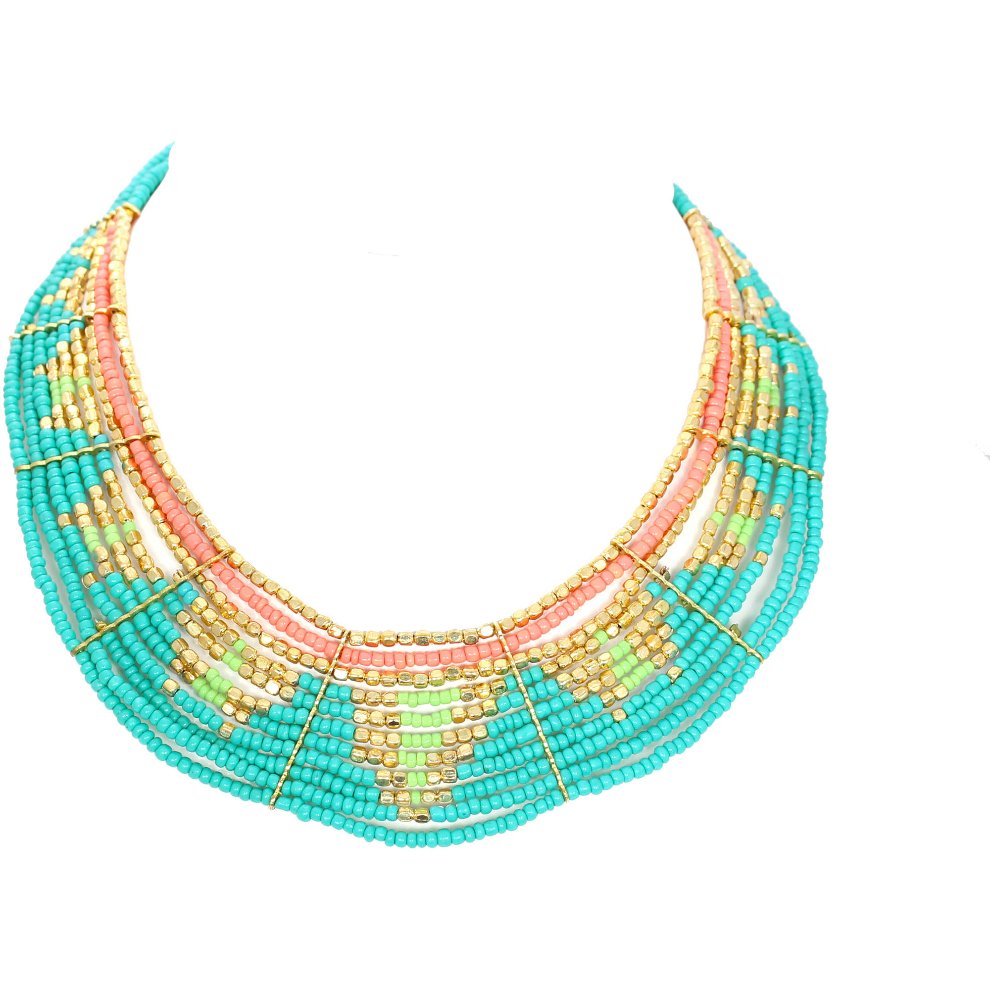 """Gold-Tone Tribal Turquoise and Gold Color Seed Bead Necklace, 16"""""""