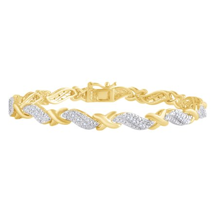 Round Shape White Natural Diamond XO Tennis Bracelet In 14k Yellow Gold Over Sterling Silver (0.25 cttw) - 8.5