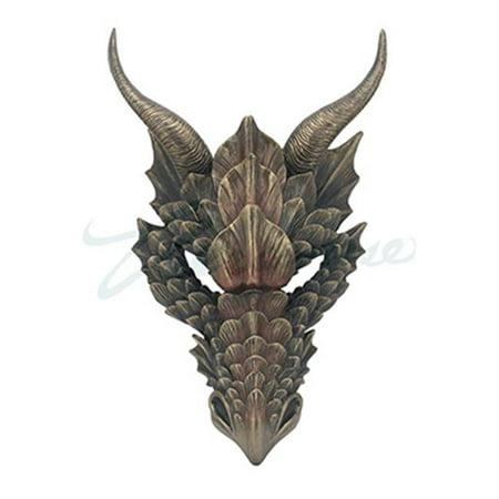 42 Dragon Head (Dragon Head Wall Mask Medieval Decor - Metallic Bronze )