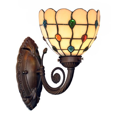 - Bieye Tiffany Style Stained Glass Jewels Wall Sconces with 7 inches Handmade Shade (Multi-colored Jewels Single Uplight)