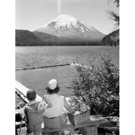 USA Washington State Mountain Saint Helens and Spirit Lake mother and son looking at view Poster Print (Spirit Usa)