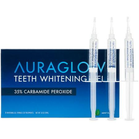 AuraGlow Teeth Whitening Gel, 35% Carbamide peroxide, 3x5ml (Carbamide Peroxide Whitening Gel)