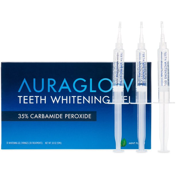 Auraglow Teeth Whitening Gel 35 Carbamide Peroxide 3x5ml Syringes Walmart Com Walmart Com