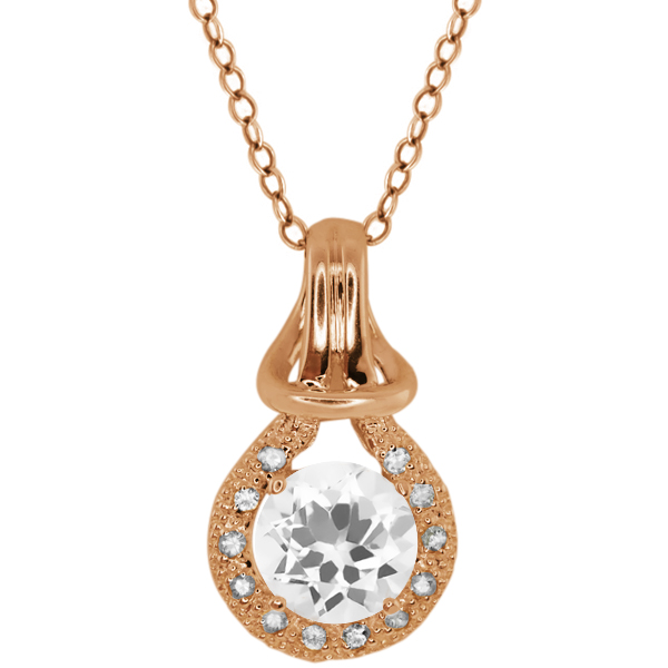 1.72 Ct Round White Topaz White Sapphire Rose Gold Plated Silver Pendant
