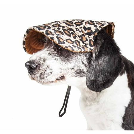 Cheetah Life (Pet Life ® 'Cheetah Bonita' Cheetah Patterned Uv Protectant Adjustable Fashion Dog Hat Cap)