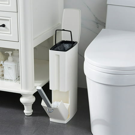 Trash Can Garbage Bin With Toilet Brush