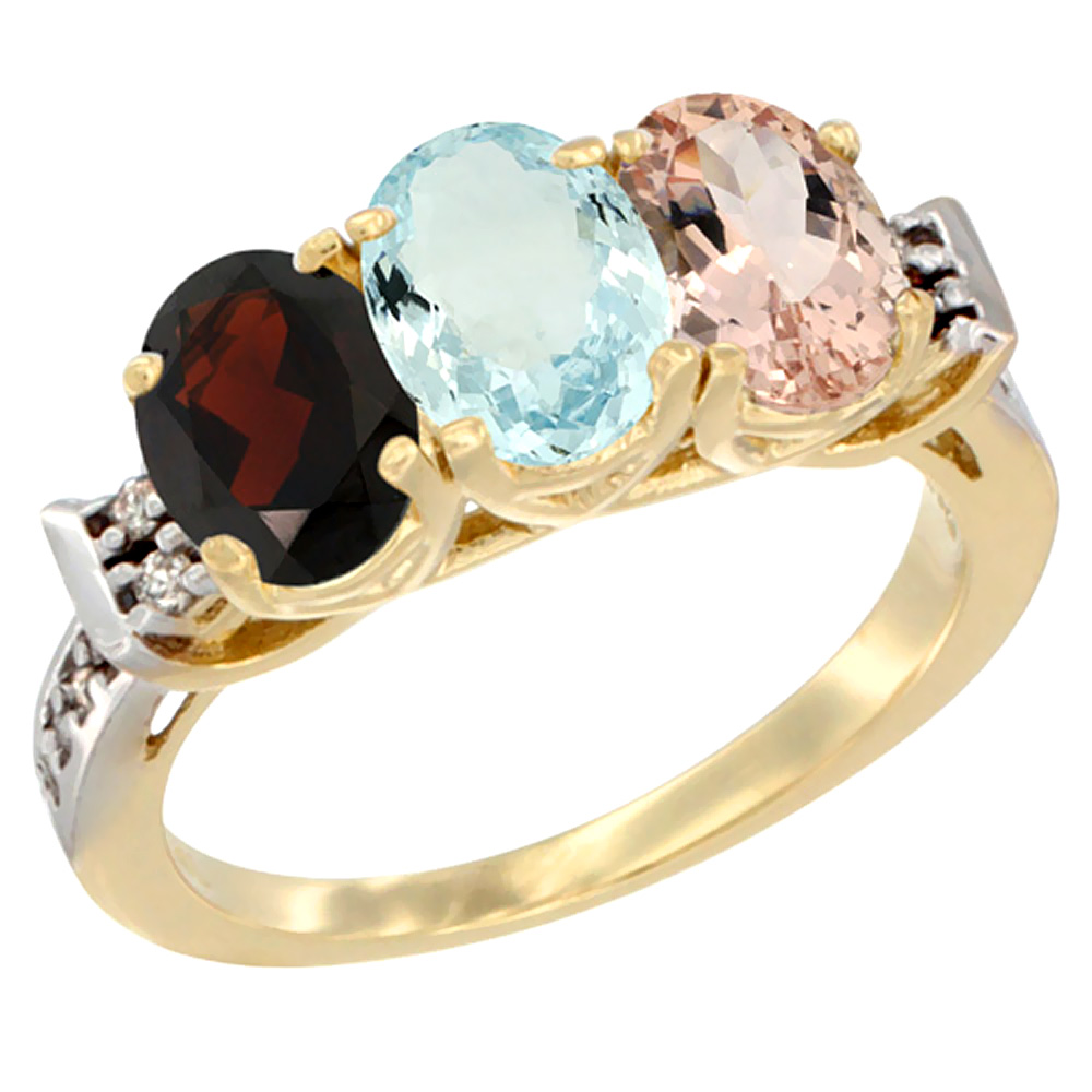 14K Yellow Gold Natural Garnet, Aquamarine & Morganite Ring 3-Stone 7x5 mm Oval Diamond Accent, sizes 5 10 by WorldJewels