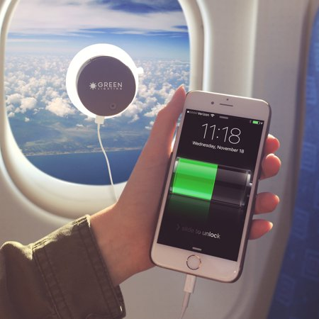 GREENLIGHTING NEW Solar Phone Charger - 2000mAh Window Cling Power Bank