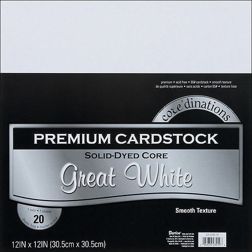 "Core'dinations Value Pack Cardstock 12""X12"" 20/Pkg-Great White - Smooth"