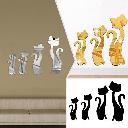 4pcs 3D Mirror Wall Sticker Acrylic 4 Cats Kitty Art Mural Decal DIY Dining Room Bedroom Kitchen Home Room Decor Removable - Hello Kitty Wall Decor