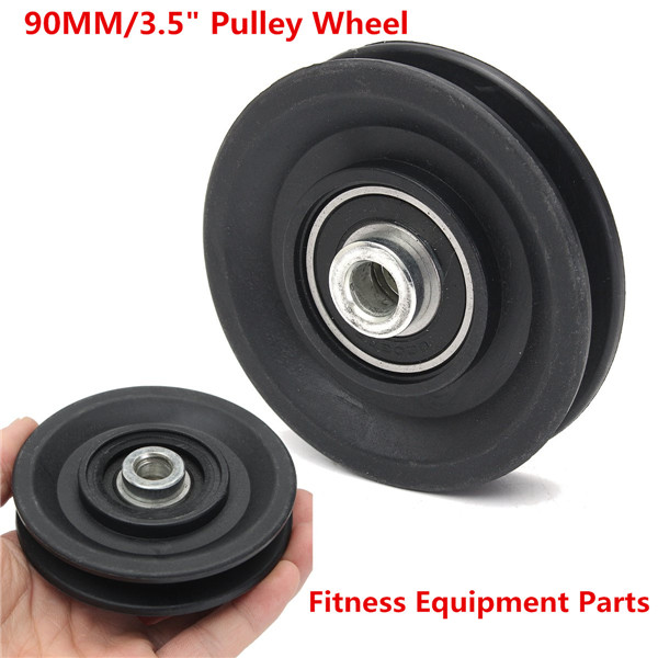 2X90mm Universal Bearing Pulley Wearproof Wheel Cable Gym Fitness Equipment Part