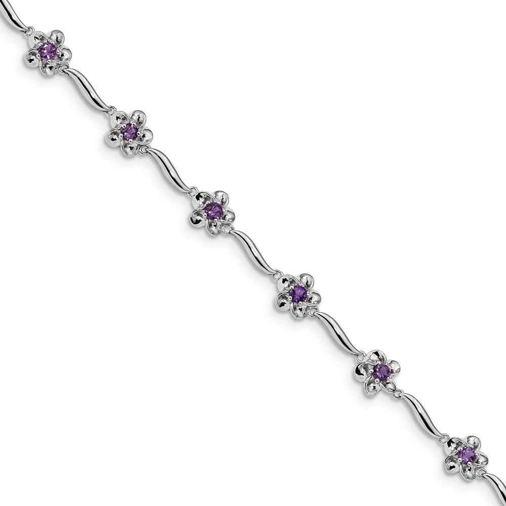 "Sterling Silver Floral Simulated Amethyst Bracelet 7.5"" with Secure Lobster Lock Clasp (7.9mm) by AA Jewels"