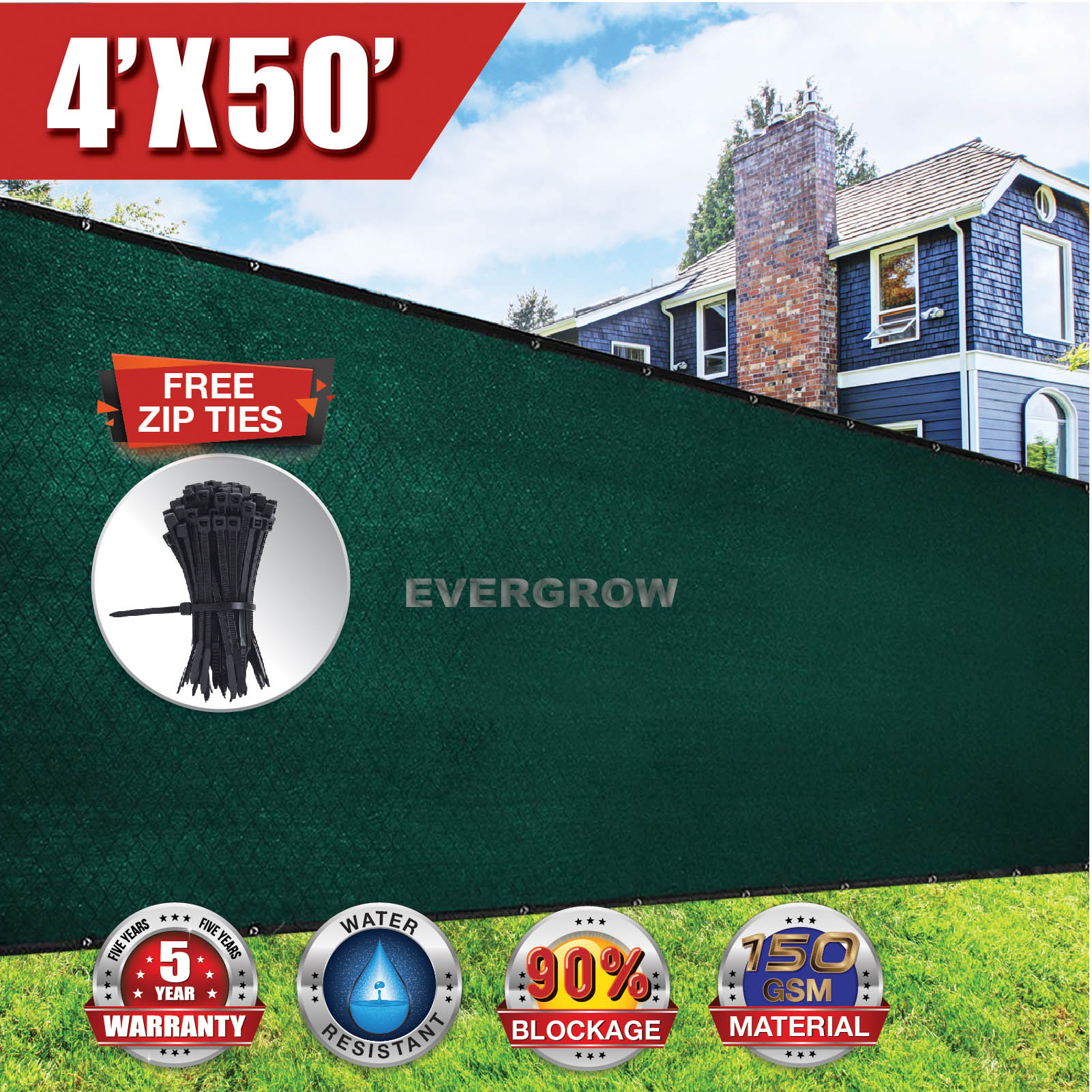 EVERGROW® 4' x 50' Dark Green Privacy fence screen 150 GSM Heavy Duty Windscreen Fence Shade Netting Cover Outdoor Patio 90% UV Blockage FREE Zip Ties 5 Years Warranty (G-FENCE-4X50-GREEN)