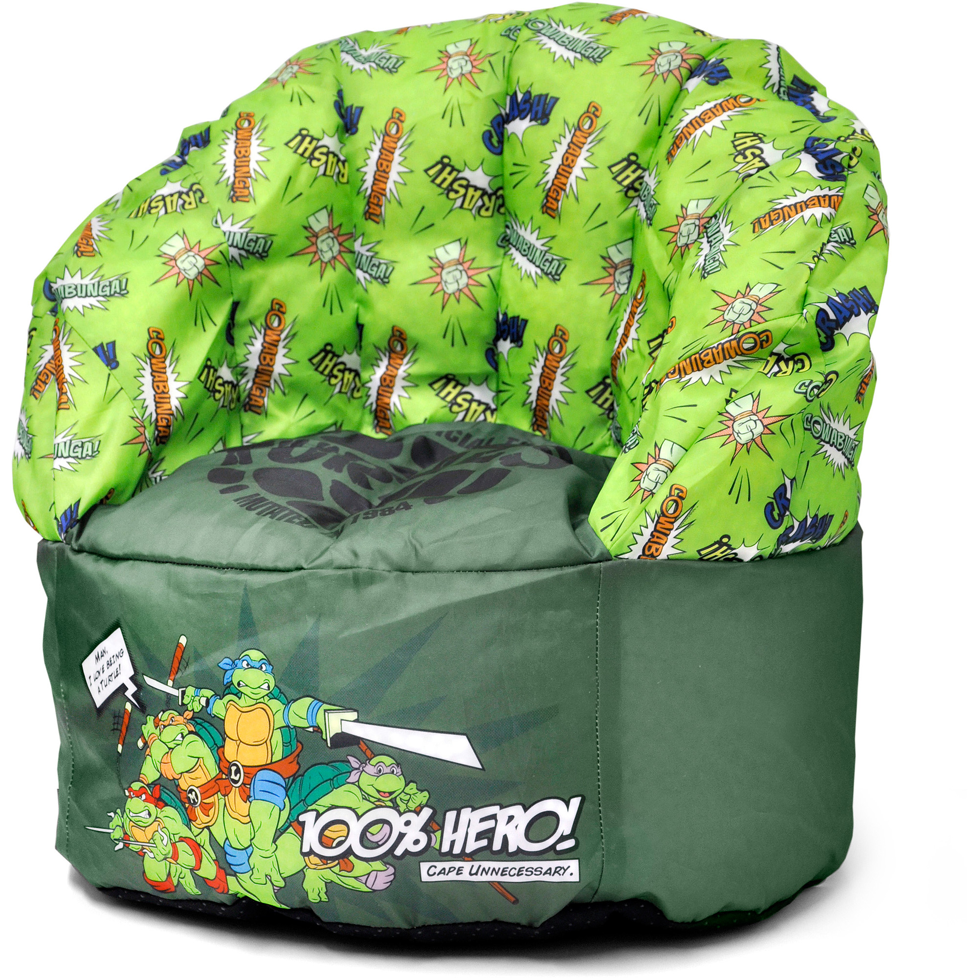 Idea Nuova Character Toddler Kids Bean Bag Chair with Piping in Teenage Mutant Ninja Turtles