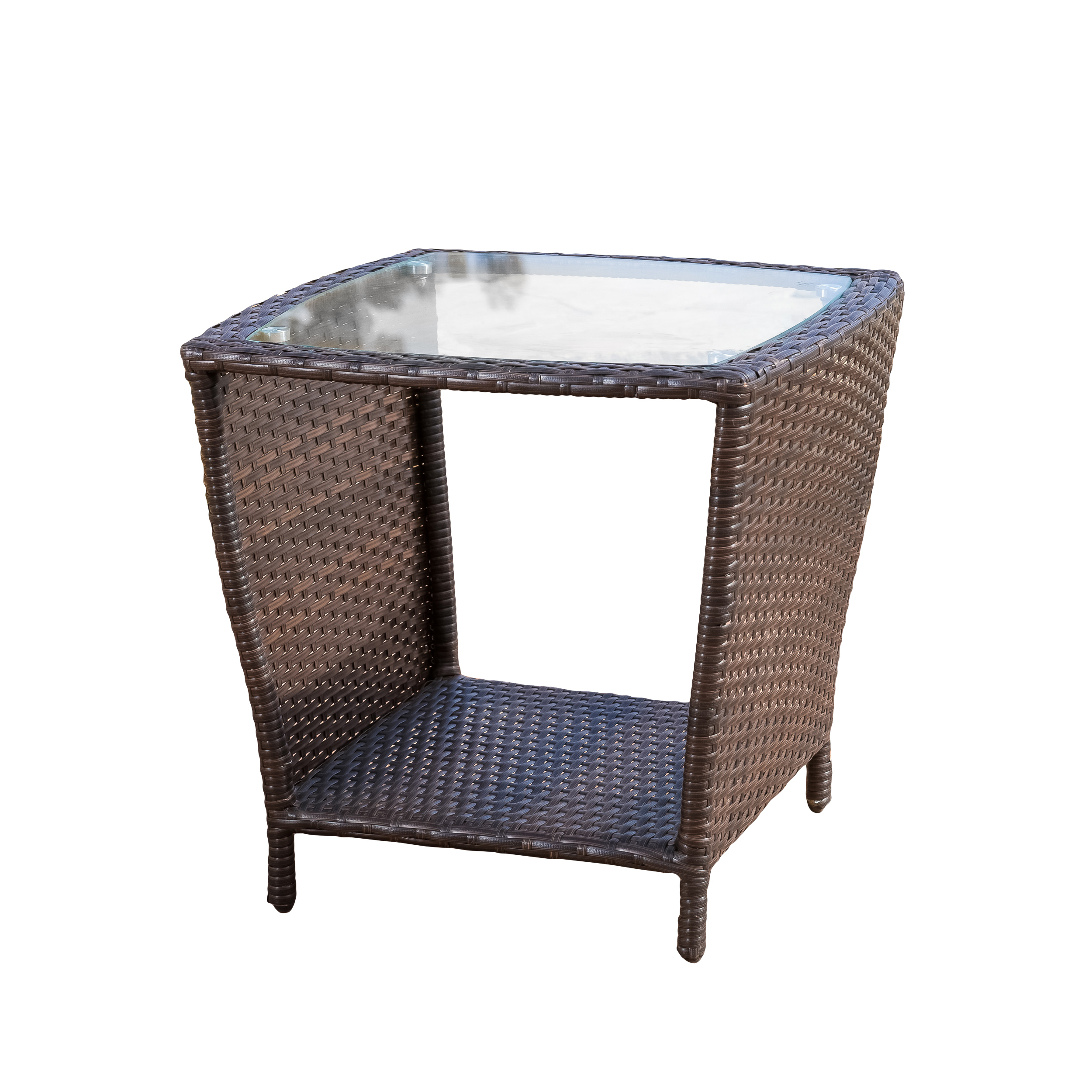 Keenan Outdoor Multibrown Wicker Side Table with Glass Top by GDF Studio