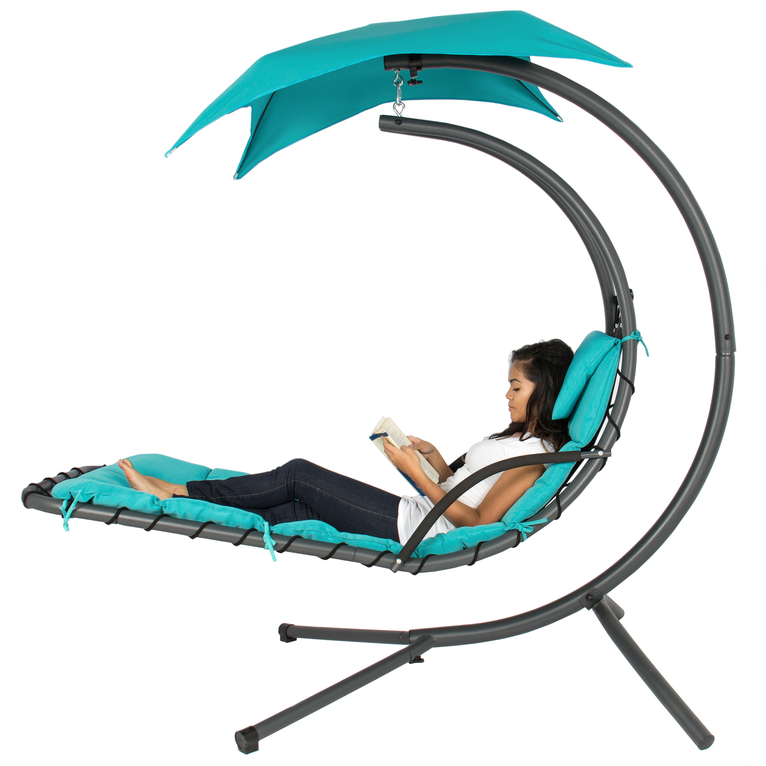 Best Choice Products Outdoor Porch Hanging Curved Chaise Lounge Chair Swing Hammock w/ Pillow, Stand, Canopy