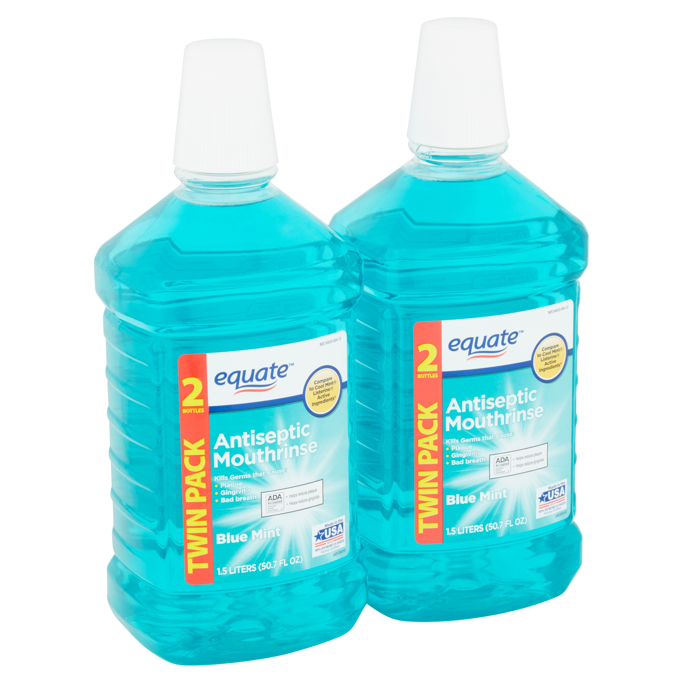 Equate Blue Mint Antiseptic Mouthrinse Twin Pack, 50.7 fl oz, 2 count