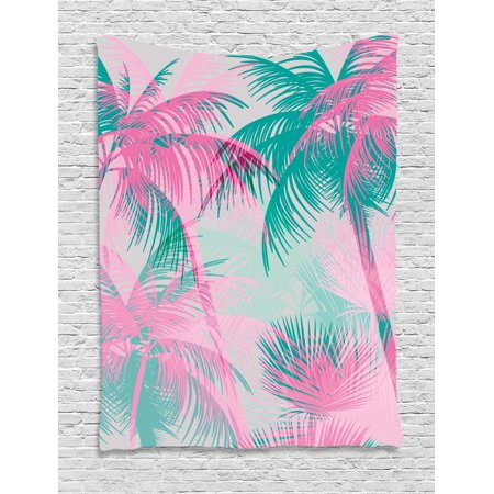 Palm Leaf Tapestry, Beach Party Theme Vibrant Composition with Pink ...