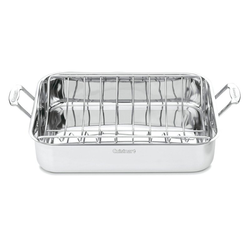 "Chef's Classic Stainless 16"" Roasting Pan with Rack by Cuisinart"