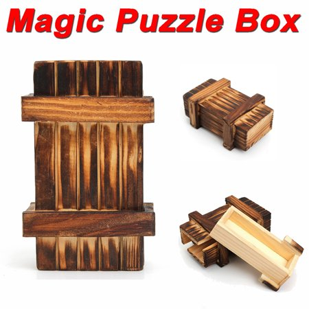 Intelligence Magic Puzzle Box Wooden Secret Safty Storage Compartment Trick Gift Brain Training Teaser Toy