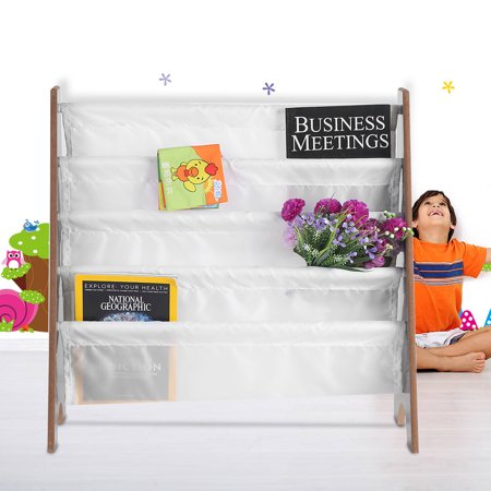 WALFRONT Children Furniture Wooden+Polyester Bookcase Book Storage Display Rack Bookshelf With 4 Pockets, Children Bookshelf, Kid Bookshelf ()