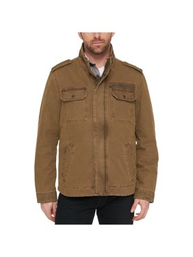 G.H. Bass & Co. Mens Snap Pocket Military Jacket, Brown, XX-Large