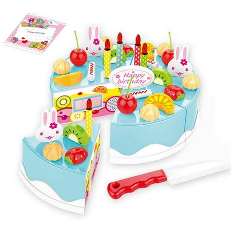 38Pcs Birthday Cake DIY Model Children Kids Early Educational Pretend Play Kitchen Food Plastic Toys