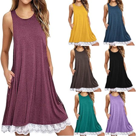 Summer Dresses for Women O Neck Casual Floral Print Pockets Lace Mini Dress Loose Party Dress