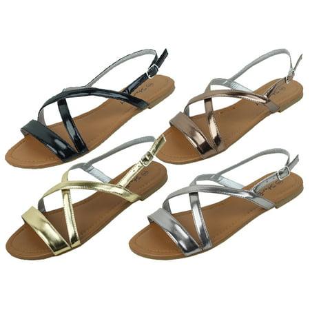 New Starbay Brand Women's Peep Toe Stap Flats Sandals Gold Size 9